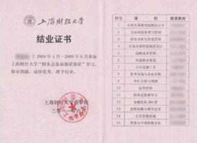 上海财经大学结业证书